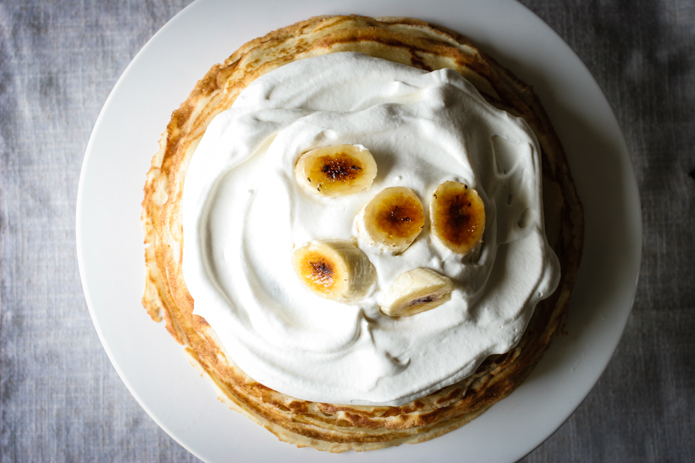 Bananas Foster Crepe Cake Top