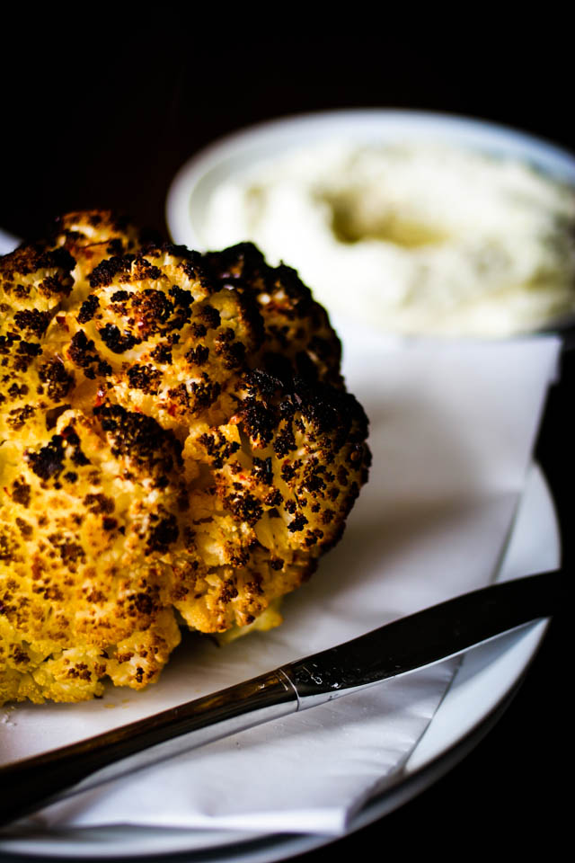 Roasted Cauliflower with Cheese Spread
