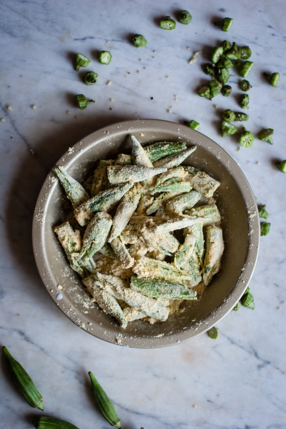 Cornmeal Crusted Smashed Okra | for the love of the south