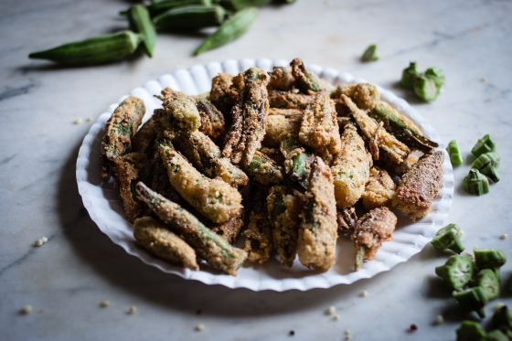 Smashed Cayenne + Cornmeal Crusted Fried Okra | for the love of the south
