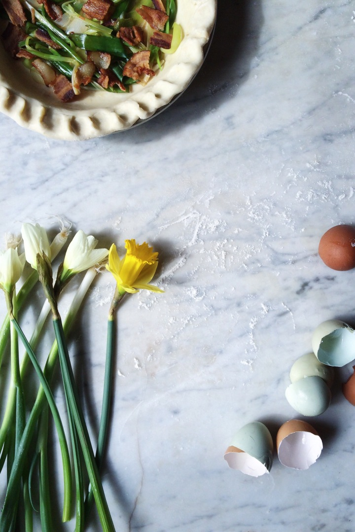 Spring Onion + Bacon Quiche Prep | for the love of the south