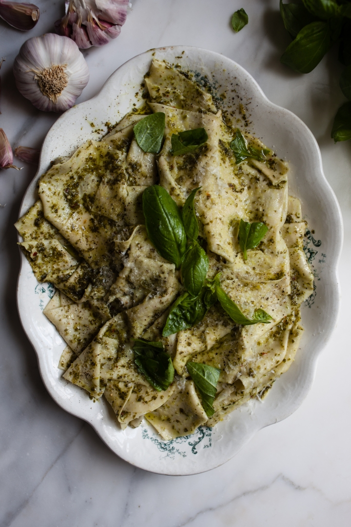 Basil Pesto Handkerchief Pasta | for the love of the south